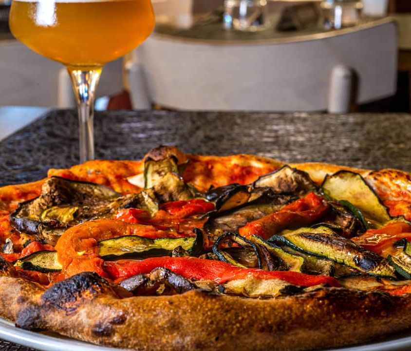 Red Pizza with Fresh Grilled Vegetables